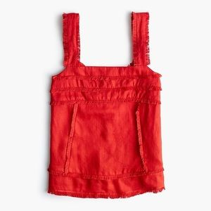 J Crew red fringe tank top